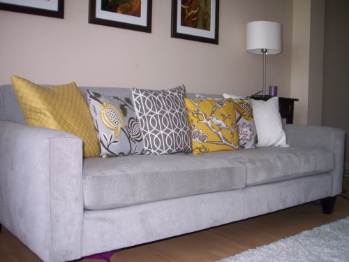 My couch with home-made pillows