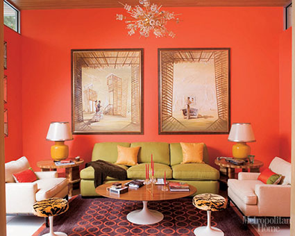 Tetrad fabrictherapy Orange and red living room design