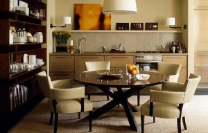 Dining room decorated with neutral beige
