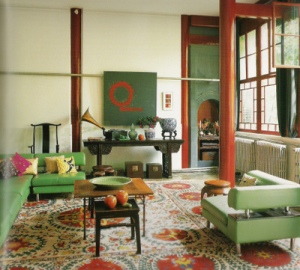 Gorgeous lofty red-green contrasting scheme