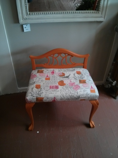 "This stool was painted with Fat Paint's ""Pumpkin""."