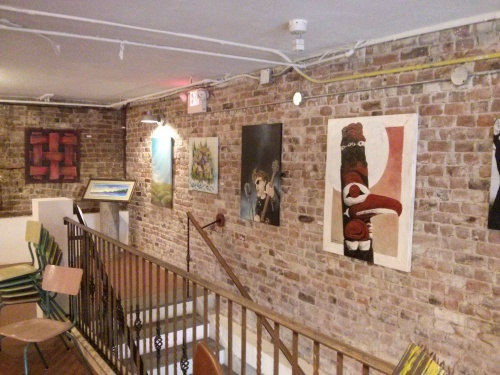 They use the upstairs loft space as a gallery for art (also for sale).