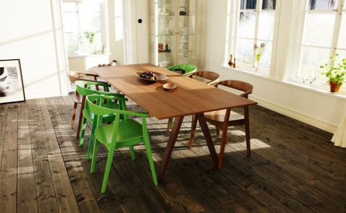 Ikea mid-century modern walnut veneer dining table