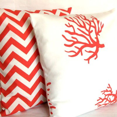 Throw pillows from etsy (tons of different coral and teal prints to be found!)