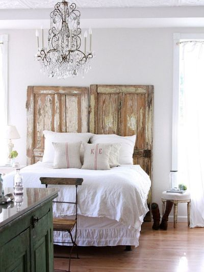 Headboard made of old doors.