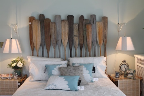 Headboard made from old oars.