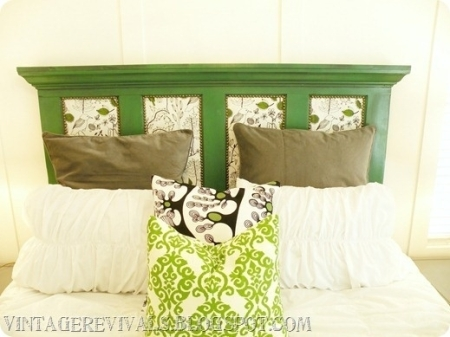 Vintage door with upholstered panels. This is a similar look to the coffee headboard I made.