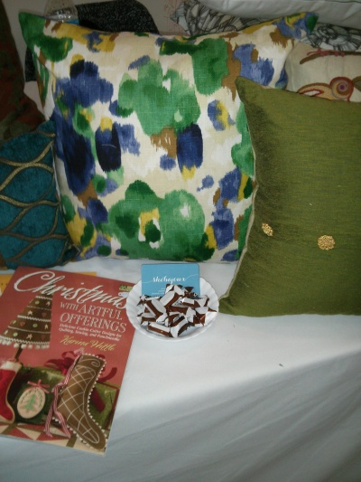 The pillow with the funky blue and green floral is one of my favorite new patterns from Robert Allen.