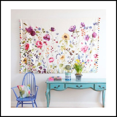 Hanging some fabric or securing it to a frame as art is another great, low budget way of adding a floral to your room.