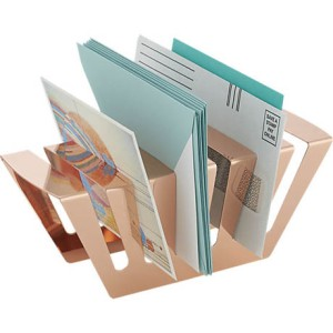 Rose gold paper organizer from CB2.