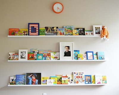 These book ledges are sold at Ikea for $15 each. Where storage and art meet in the form of storage for attractive books.
