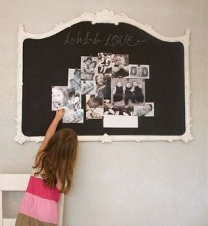 Making and attaching a simple frame to the wall then filling it in with magnetic paint is a great way for you child to display favorite pictures.