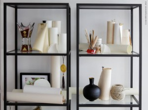 The vittsjo shelving unit from Ikea is sleek and super inexpensive at $50.