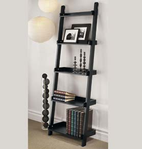 Leaning shelves are another stylish way to display your treasures. Check out Crate and Barrel or the Container Store for some nice options.