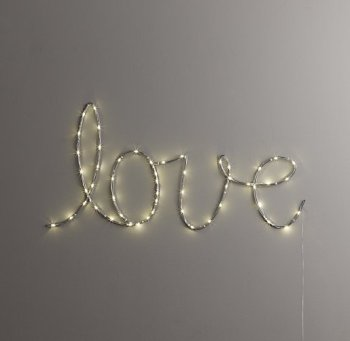 "A simple strand of lights spelling a word like ""love"" would be simple and beautiful."